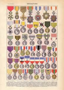 Military Decorations 1922 Vintage French Military Medals French Dictionary