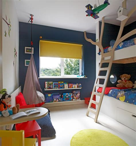 Kids Bedroom Decorating Ideas navy blue and yellow kids room interiors by color
