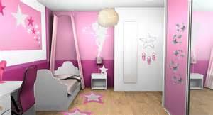 Ordinary Decoration Chambre Petite Fille #2: Chambre-fille-dégrades-rose-etoiles-fees-bandes-peinture-graphiques-2.jpg