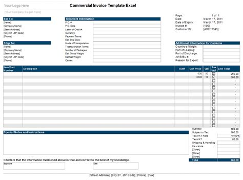 how to create a invoice template in excel commercial invoice template excel xls exceltemple