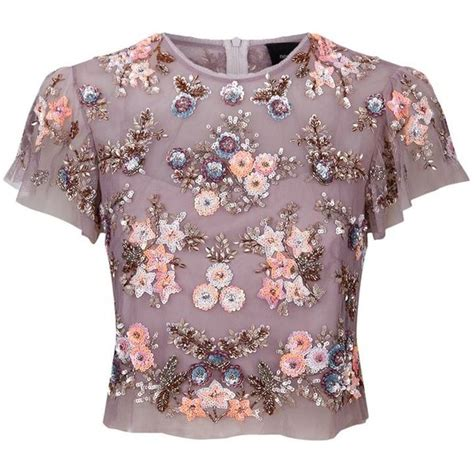 Flower Top Blouse Crop Top needle thread ditsy scatter flower top 185 liked on