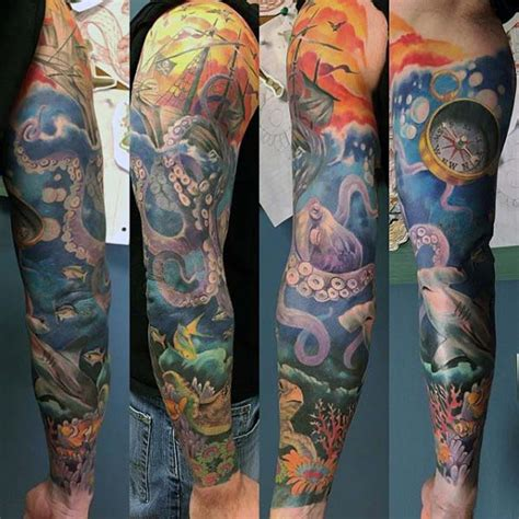 ocean tattoo sleeve designs 40 sleeve tattoos for underwater ink design ideas