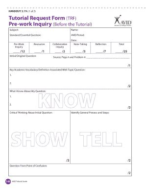 tutorial questions for avid exles tutorial request form fill online printable fillable