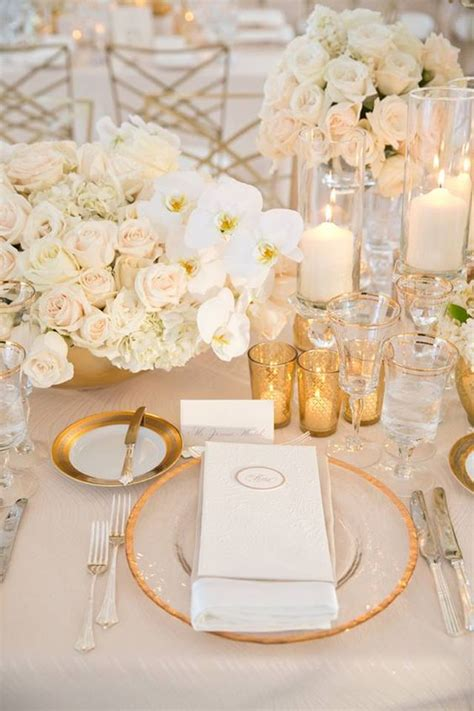 white and gold table settings follow us signaturebride on and on