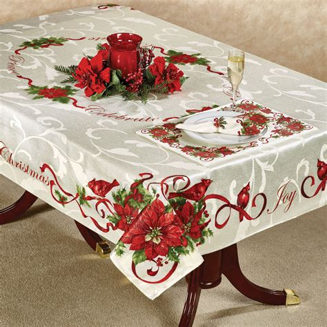 christmas cardinals holiday table linens