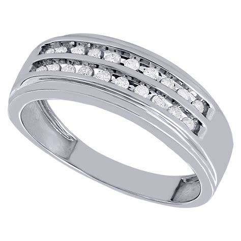 10k white gold mens wedding band 8mm channel set