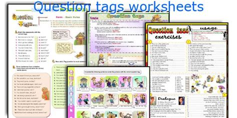 printable question tags english teaching worksheets question tags
