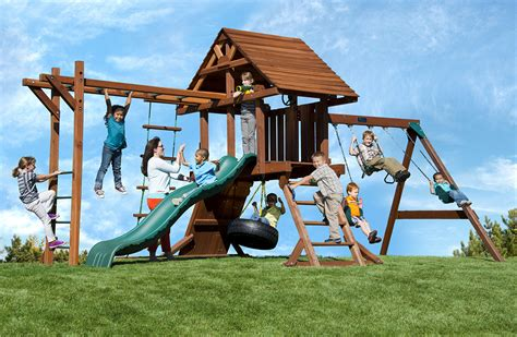 Swingset With Monkey Bars Two Ring Deluxe With Monkey Bars