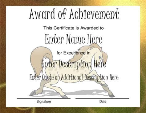 Award Certificate Templates Horseback Gift Certificate Template
