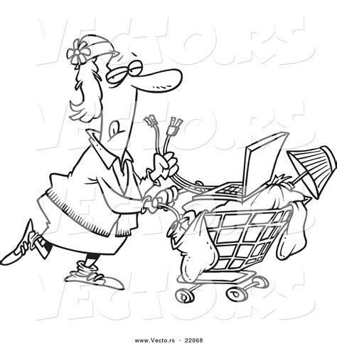 homeless person coloring page vector of a cartoon homeless woman pushing a laptop on her
