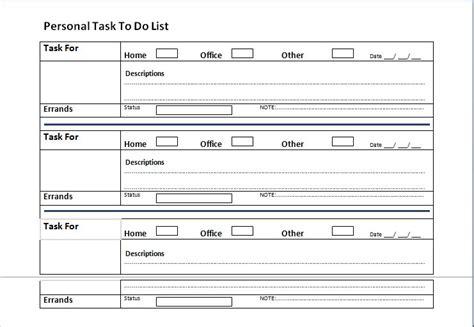 personal to do list template ms word personal tasks to do list template formal word