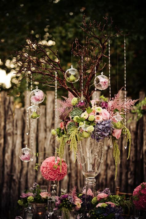 hanging crystals for wedding centerpieces branches centerpiece with crystals and hanging