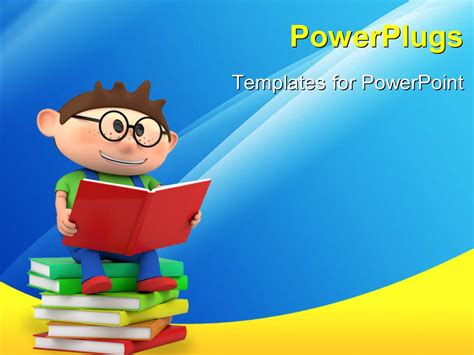 Powerpoint Template A Person Reading While Sitting On A Bundle Of Books 3960 Children S Book Powerpoint Template