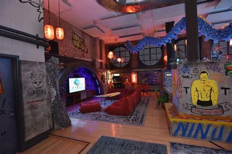 ninja themed bedroom airbnb with teenage mutant ninja turtle theme has glow in