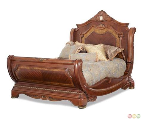 sleigh beds king michael amini cortina traditional california king sleigh