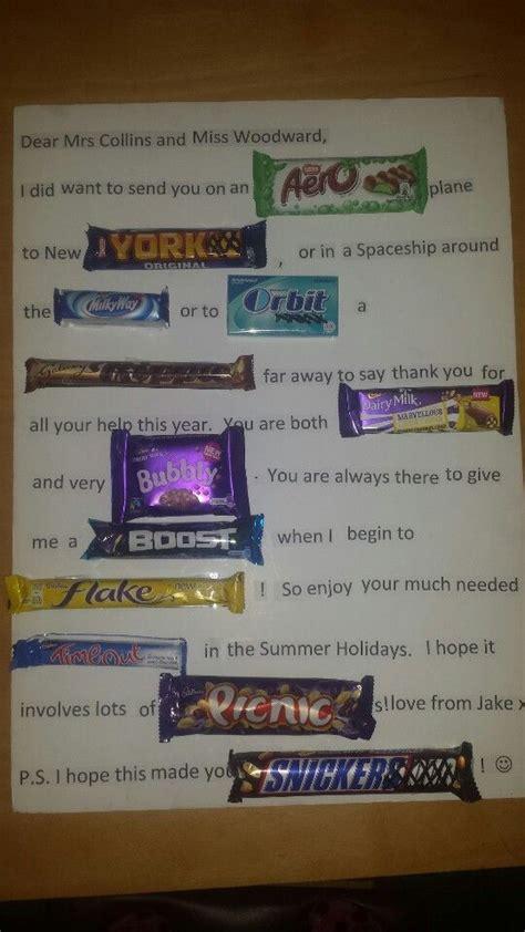 Chocolate Bar Gift Card - chocolate gift card for a teacher with uk chocolate bars xx birthday pinterest