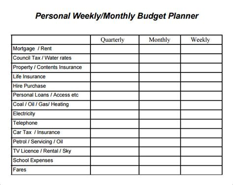 weekly and monthly budget template weekly budget templates word form pdf sle