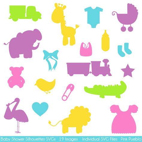templates for baby shower decorations baby shower silhouettes svgs baby shower cutting templates