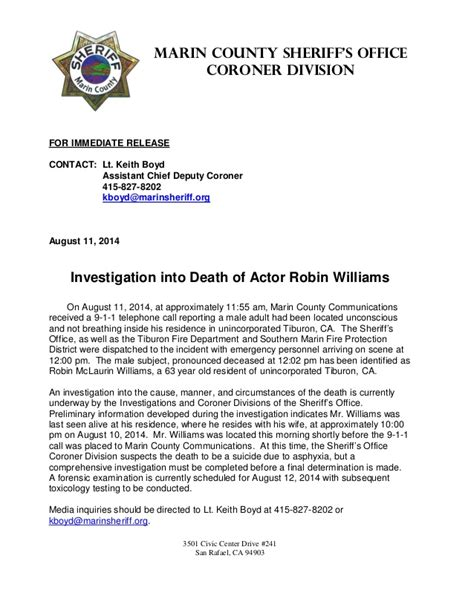 actor robin williams death police press release