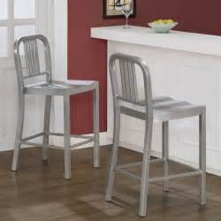 silver metal counter stools set of 2 bar seat chair