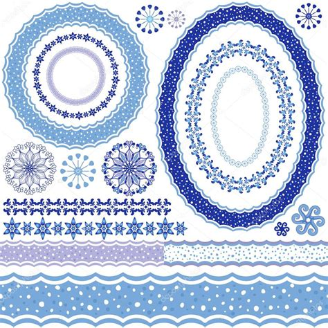 pattern frame white blue decorative frame and patterns stock vector
