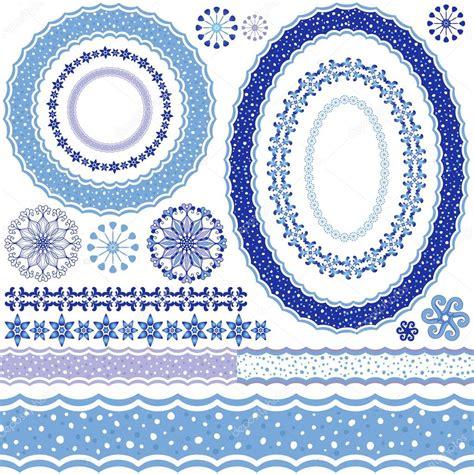 pattern frame illustrator white blue decorative frame and patterns stock vector