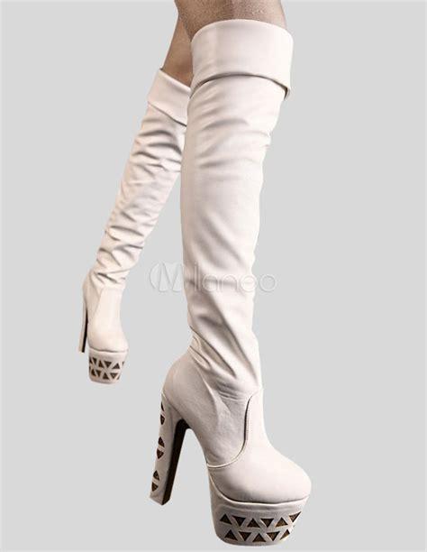 white high heel the knee platform boots milanoo