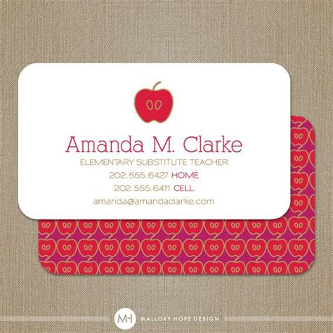 teacher business card calling card mommy card