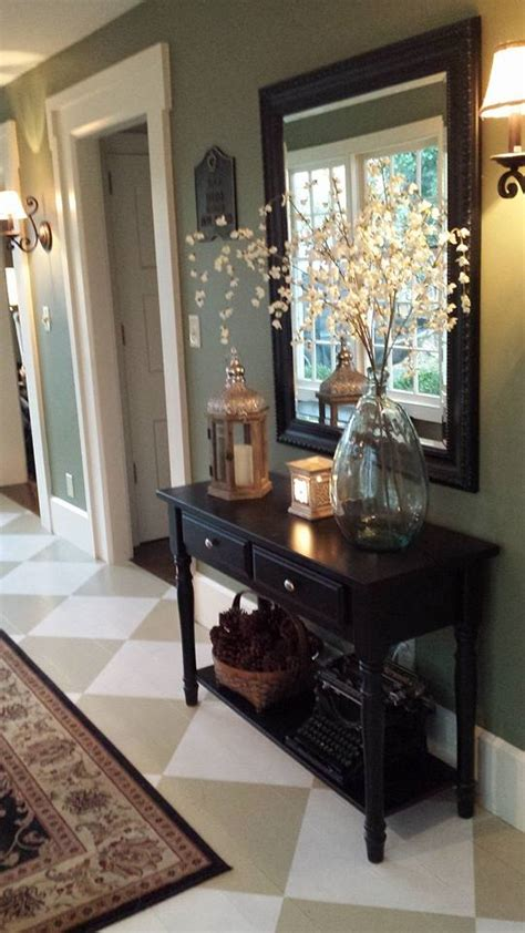 entryway table ideas hometalk 4 39 foyer painted floor makeover