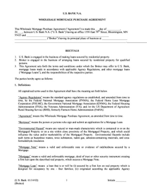 wholesale agreement template mortgage agreement with bank pic fill printable