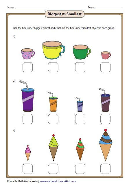 Arranging Flowers by Big And Small Worksheets