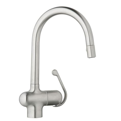 shop grohe eurodisc stainless steel 1 handle pull out ladylux pro single handle pull down sprayer kitchen faucet