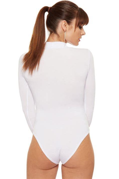 Sleeve Neck womens choker neck sleeve top bodysuit leotard