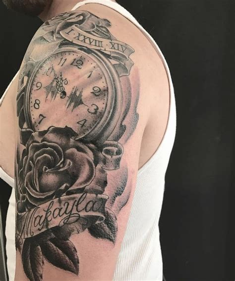 daughter name tattoos for men and roses on a shoulder with his