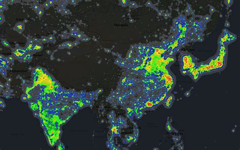 Light Map by Light Pollution Around The World Brilliant Maps