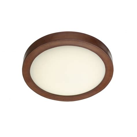 Brown Ceiling Light Rustic Brown Leather Effect Flush Led Ceiling Light Low Energy