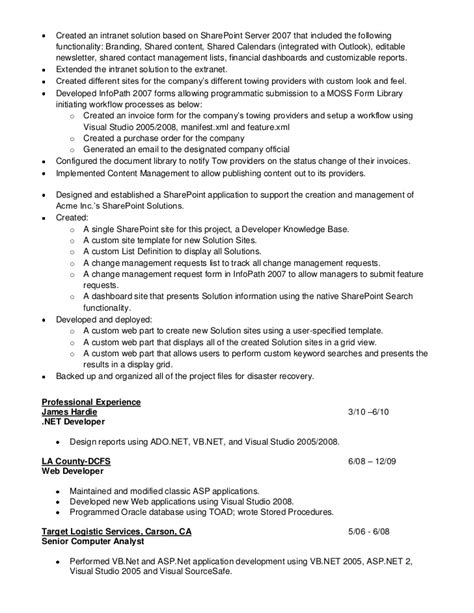 sle resumes for net developers sharepoint sle resume developers 28 images android