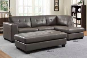 Small Grey Leather Sofa Homelegance Modern Small Tufted Grey Leather Sectional