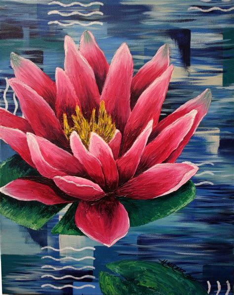 acrylic painting lotus flower 16x20 original acrylic painting of textured pink water