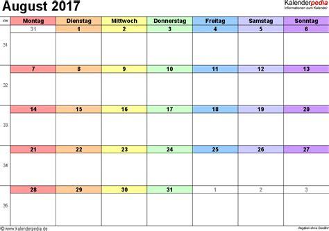 Calendar 2017 July August September October Kalender August 2017 Als Word Vorlagen