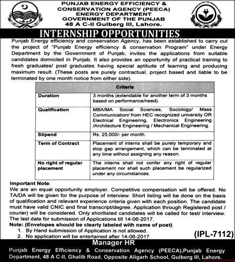 Mba Internships Sargodha by Punjab Energy Efficiency Conservation Agency Paperpk