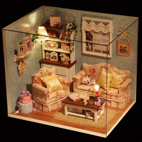 miniature e dollhouse dollhouse miniature diy kit happy time room with cover