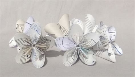 Origami Table Decorations - 6 small sheet origami flowers upcycled aftcra