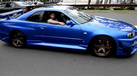 blue nissan skyline blue nissan skyline r34 revving not my car