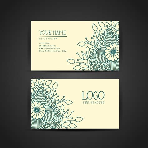 floral business card template vector free download