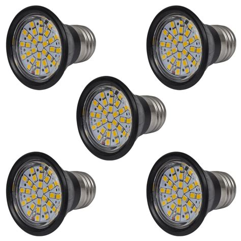 Led Sorot Spotlight 3w E27 vidaxl co uk spotlight set 5 led bulbs black 3w e27 warm white