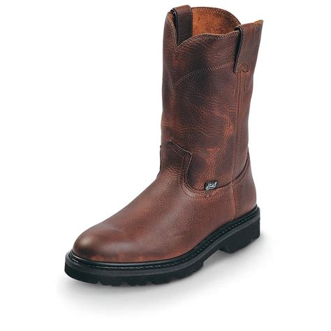 s justin 174 premium 10 quot work pull on boots brown