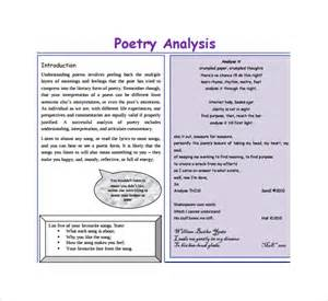 Poetry Template by Sle Poetry S Analysis Template 6 Free Documents In Pdf