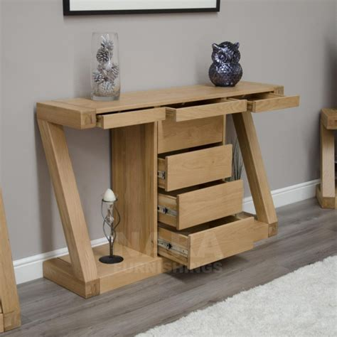 Slim Hallway Table Zaria Solid Oak Designer Furniture Console Hallway Table With Drawers Ebay