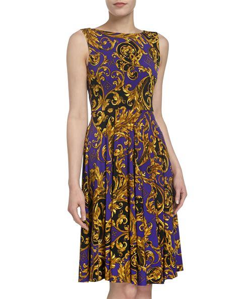 isaac mizrahi jersey print sleeveless dress in purple pur